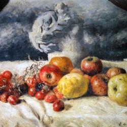 Composizione di frutta con statua classica, De Chirico