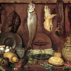Dispensa con pesce, carne, uova sode e fiasca di vino, Jacopo Chimenti (dettaglio)