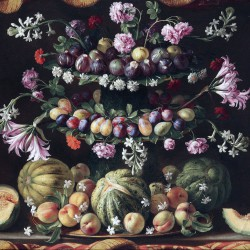 Alzata con fichi, susine, pesche e meloni, Giovanni Stanchi