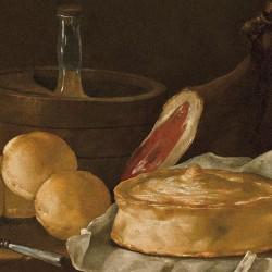 Pani, prosciutto, casatiello e ghiacciata sul tavolo, Giuseppe Recco (dettaglio)