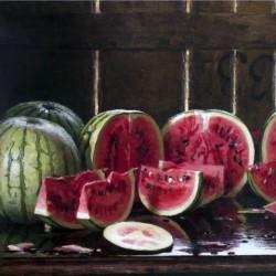 Tavolo con angurie, E.Longoni (dettaglio)