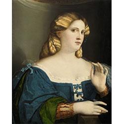 Ritratto di giovane donna in abito blu con ventaglio