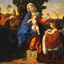 Madonna con il Bambino in trono tra le sante Barbara e Cristina e due committenti (particolare)