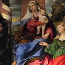 Madonna in trono con il Bambino tra i santi Giorgio e Lucia, e un angelo musicante (particolare)