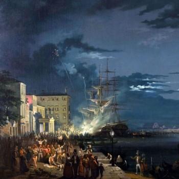 Carlo Grubacs Notturno con la festa del Redentore (particolare)