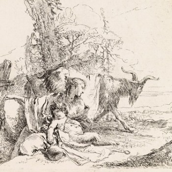 Capriccio.Ninfa con satiro e due capre in un paesaggio