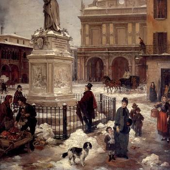 Fig 6- Veduta di Piazza della Loggia con neve, Angelo Inganni