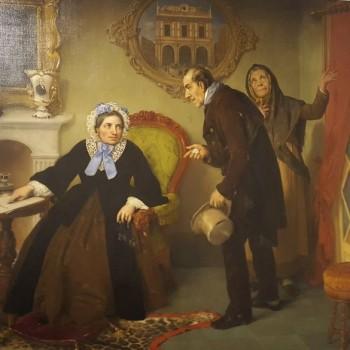 Fig 9- Marietta Caroli Rossa mostra il suo testamento a due poveri, Angelo Inganni