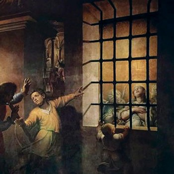 Fig. 1- Santa Caterina visitata nel carcere dall' imperatrice Faustina, Antonio Campi