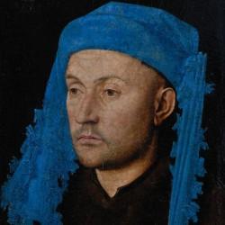 Ritratto d'uomo con copricapo azzurro